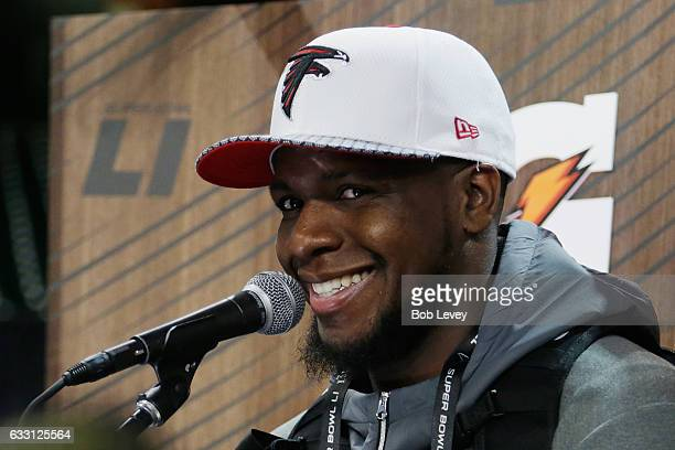 Mohamed Sanu of the Atlanta Falcons speaks with the media during Super Bowl 51 Opening Night at Minute Maid Park on January 30 2017 in Houston Texas