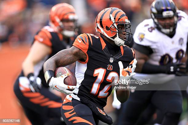 Mohamed Sanu of the Cincinnati Bengals carries the ball during the first quarter of the game agains the Baltimore Ravens at Paul Brown Stadium on...
