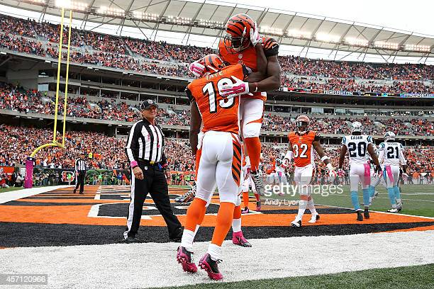 Mohamed Sanu of the Cincinnati Bengals congratulates Brandon Tate of the Cincinnati Bengals after scoring a touchdown against the Carolina Panthers...