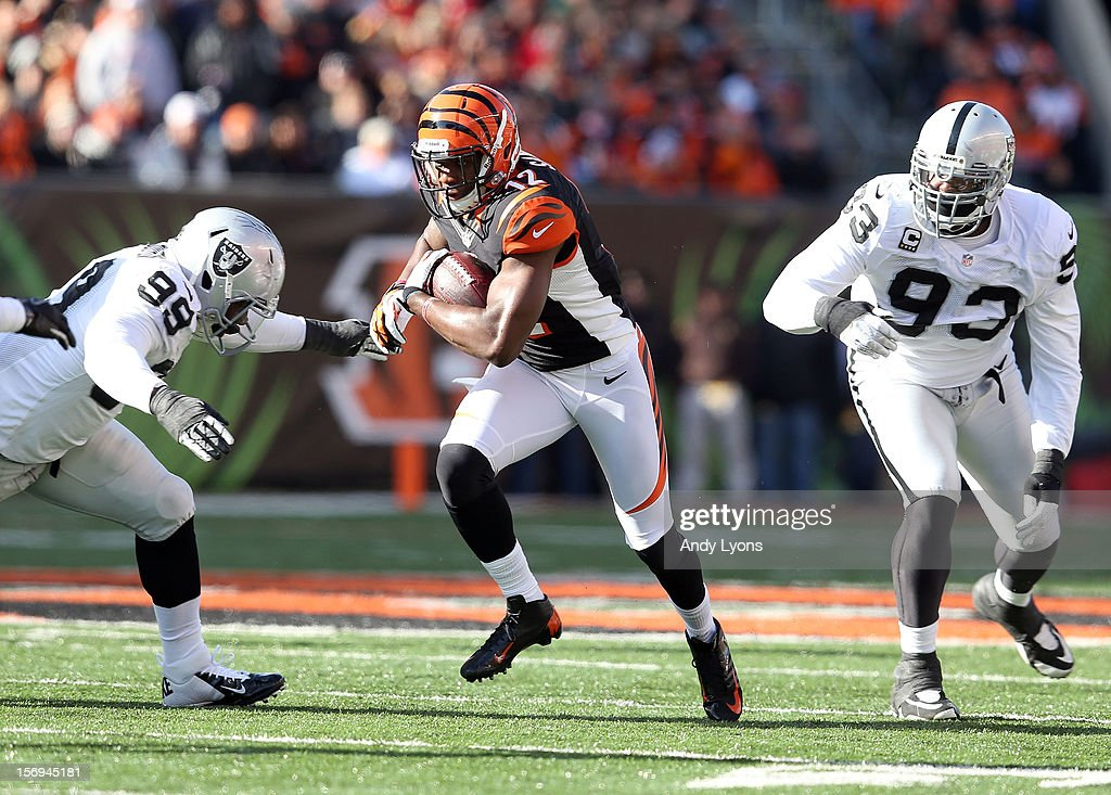 Mohamed Sanu #12 of the Cincinnati Bengals runs with the ball during the NFL game against the Oakland Raiders at Paul Brown Stadium on November 25, 2012 in Cincinnati, Ohio.