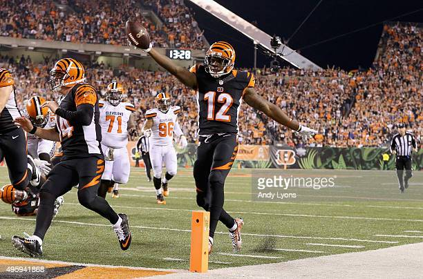 Mohamed Sanu of the Cincinnati Bengals scores a touchdown against the Cleveland Browns at Paul Brown Stadium on November 5 2015 in Cincinnati Ohio