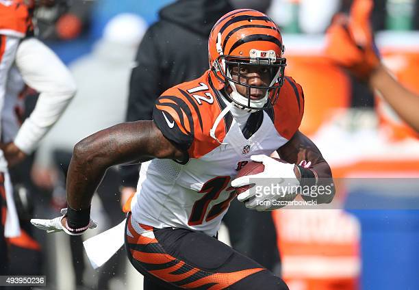 Mohamed Sanu of the Cincinnati Bengals warms up before playing against the Buffalo Bills during NFL game action at Ralph Wilson Stadium on October 18...