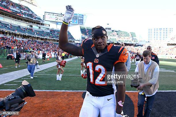 Mohamed Sanu of the Cincinnati Bengals waves to the fans as he walks off of the field after defeating the Baltimore Ravens 2724 at Paul Brown Stadium...
