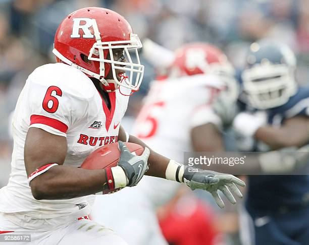 Mohamed Sanu of the Rutgers Scarlet Knights carries the ball in the second half against the Connecticut Huskies on October 31 2009 at Rentschler...