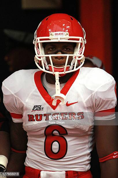 Mohamed Sanu of the Rutgers Scarlet Knights prepares to enter the field before the game against the Syracuse Orange on October 1 2011 at the Carrier...