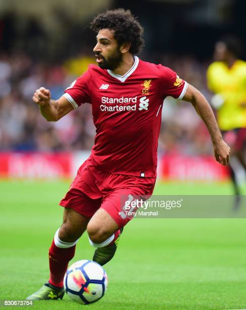 Mohamed Slah of Liverpool in action during the Premier League match between Watford and Liverpool at Vicarage Road on August 12 2017 in Watford...