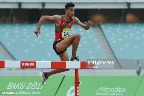Mohamed Tindouft of Morocco celebrates his win in Men's 3000m Steeplechase final during an athletic event at Baku 2017 4th Islamic Solidarity Games...
