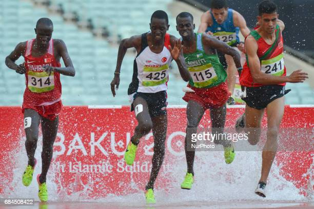 Mohamed Tindouft of Morocco controles the race in Men's 3000m Steeplechase final during an athletic event at Baku 2017 4th Islamic Solidarity Games...
