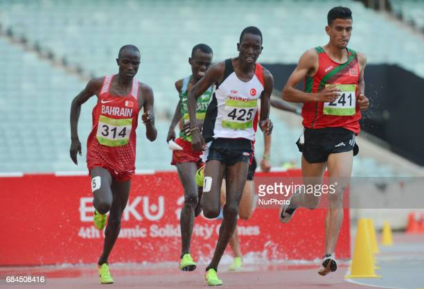 Mohamed Tindouft of Morocco leads in Men's 3000m Steeplechase final during an athletic event at Baku 2017 4th Islamic Solidarity Games at Baku...