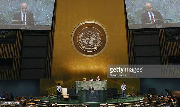 Mohamed Yousef ElMagariaf President of Libya addresses the United Nations General Assembly on September 27 2012 in New York City The 67th annual...