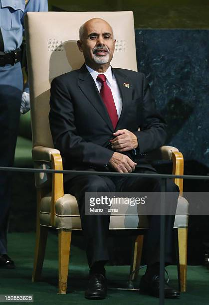 Mohamed Yousef ElMagariaf President of Libya waits to address the United Nations General Assembly on September 27 2012 in New York City The 67th...
