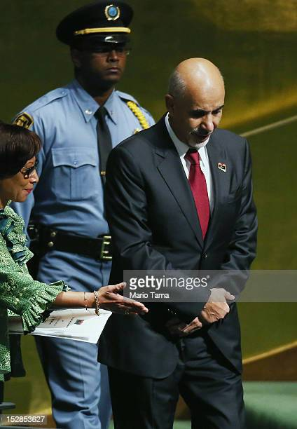 Mohamed Yousef ElMagariaf President of Libya walks to address the United Nations General Assembly on September 27 2012 in New York City The 67th...
