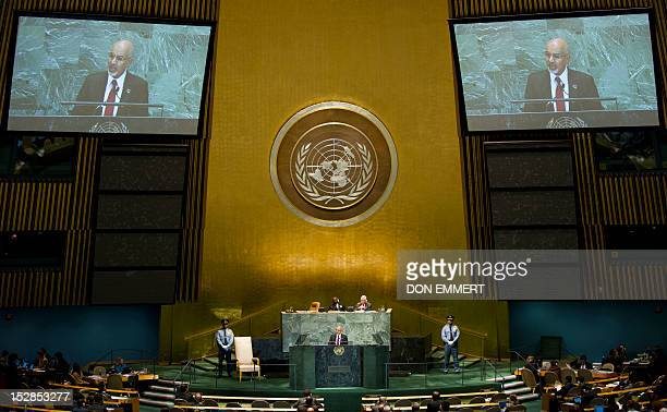 Mohamed Yousef ElMagariaf President of the General National Congress of Libya addresses the 67th United Nations General Assembly meeting September 27...