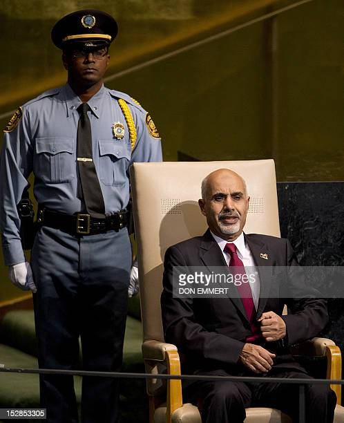 Mohamed Yousef ElMagariaf President of the General National Congress of Libya waits to address the 67th United Nations General Assembly meeting...