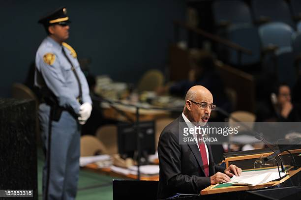 Mohamed Yousef ElMagariaf President of the General National Congress of Libya speaks during the 67th session of the United Nations General Assembly...