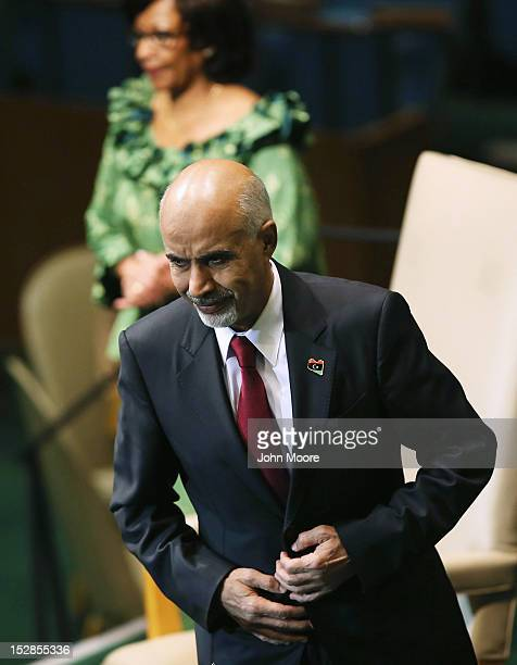 Mohamed Yousef ElMagariaf President of the General National Congress of Libya prepares to address the UN General Assembly on September 27 2012 in New...