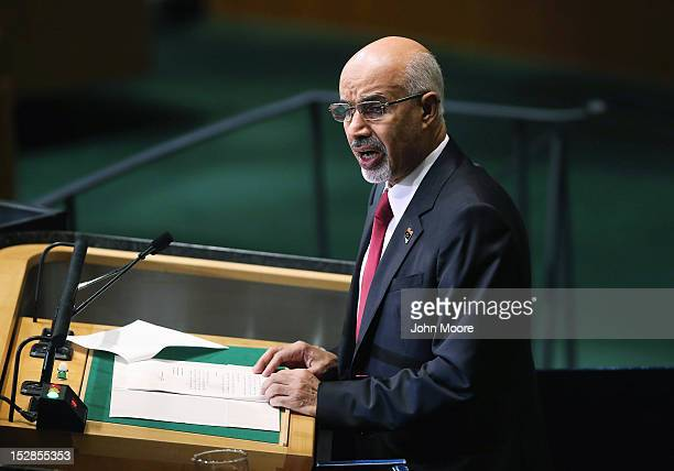 Mohamed Yousef ElMagariaf President of the General National Congress of Libya addresses the UN General Assembly on September 27 2012 in New York City...