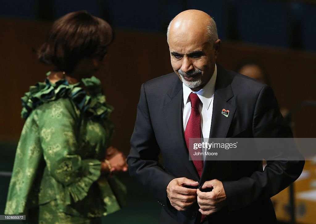 Mohamed Yousef El-Magariaf, President of the General National Congress of Libya, addresses the UN General Assembly on September 27, 2012 in New York City. The 67th annual event gathers more than 100 heads of state and government for high level meetings on nuclear safety, regional conflicts, health and nutrition and environment issues.