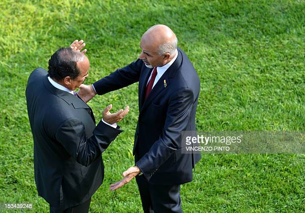 Mohamed Yousef ElMagariaf President of the General National Congress of Libya talks with Mauritanian President Mohamed Ould Abdel Aziz after a family...