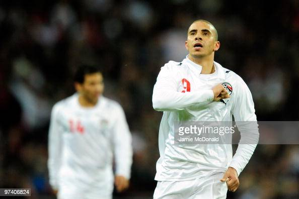 Mohamed Zidan of Egypt celebnrates as he scores their first goal during the International Friendly match between England and Egypt at Wembley Stadium...