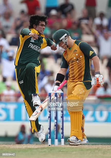 Mohammad Aamer of Pakistan celebrates the wicket of David Warner of Australia during the ICC World Twenty20 semi final between Australia and Pakistan...