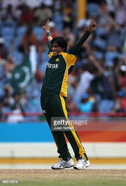 Mohammad Aamer of Pakistancelebrates the wicket of Cameron White during the semi final of the ICC World Twenty20 between Australia and Pakistan at...