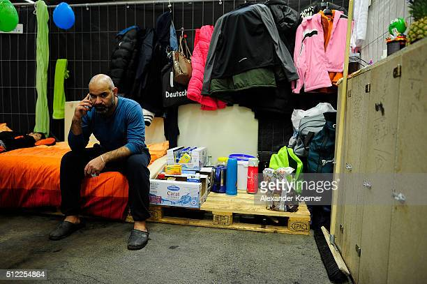 Mohammad Abdulhalim from Bagdad Iraq sits inside a shelter where they are living while their asylum applications are processed on February 25 2016 in...