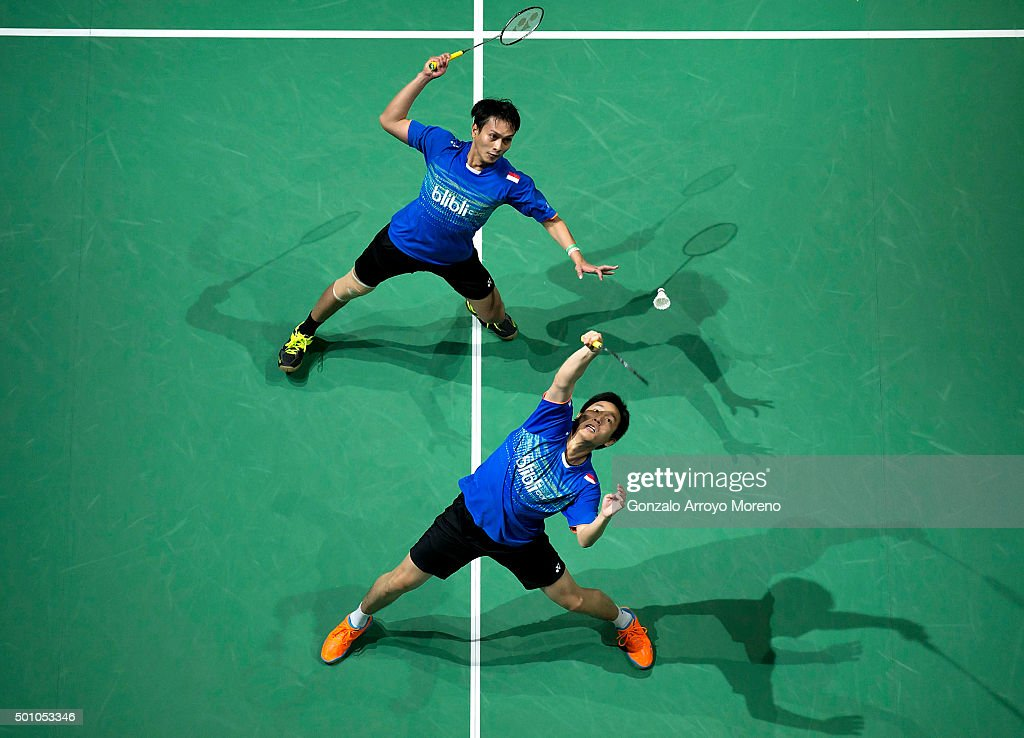 Mohammad Ahsan and <a gi-track='captionPersonalityLinkClicked' href=/galleries/search?phrase=Hendra+Setiawan&family=editorial&specificpeople=2237241 ng-click='$event.stopPropagation()'>Hendra Setiawan</a> of Indonesia in action in the Semifinal Men's Doubles match against Lee Yong Dae Yoo Yeon Seong of Korea during day four of the BWF Dubai World Superseries 2015 Finals at the Hamdan Sports Complex on on December 12, 2015 in Dubai, United Arab Emirates.