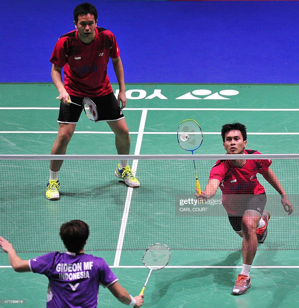 Mohammad Ahsan and Hendra Setiawan of Indonesia Facing play
