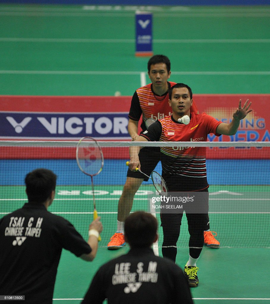 Mohammad Ahsan R and Hendra Setiawan of Indonesia play against