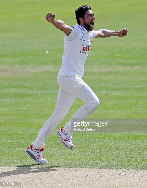 Mohammad Amir of Essex celebrates during the Specsavers County Championship Division One between Yorkshire and Essex at North Marine Road on August 7...