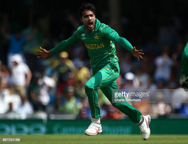 Mohammad Amir of Pakistan celebrates after claiming the wicket of India's Virat Kohli during the ICC Champions Trophy Final match between India and...
