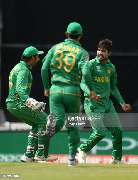 Mohammad Amir of Pakistan celebrates after dismissing Virat Kohli of India during the ICC Champions Trophy final match between India and Pakistan at...