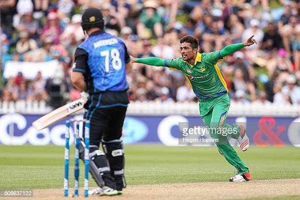 Mohammad Amir of Pakistan celebrates after taking the wicket of Corey Anderson of New Zealand during the One Day International match between New...