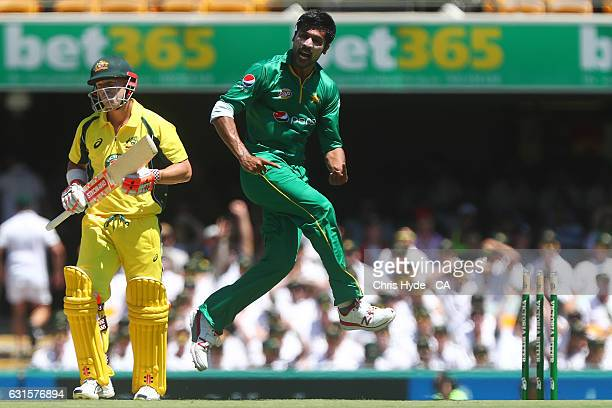 Mohammad Amir of Pakistan celebrates dismissing David Warner of Australia during game one of the One Day International series between Australia and...
