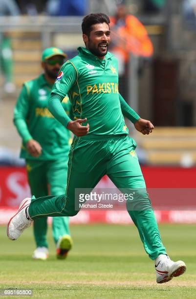 Mohammad Amir of Pakistan celebrates taking the wicket of Niroshan Dickwella of Sri Lanka during the ICC Champions Trophy match between Sri Lanka and...