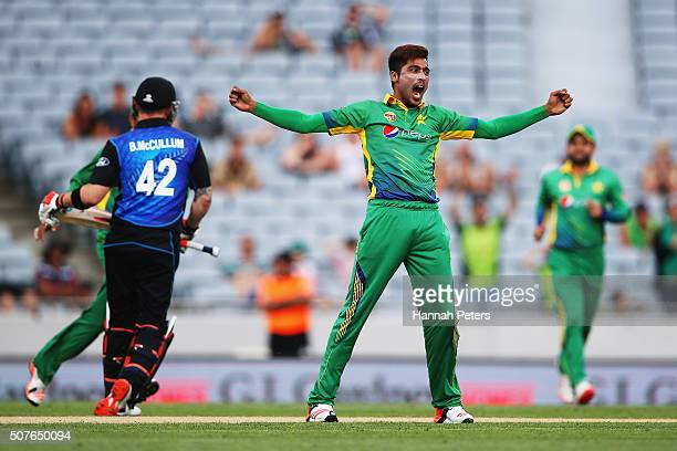 Mohammad Amir of Pakistan celebrates the wicket of Brendon McCullum of the Black Caps during the One Day International match between New Zealand and...