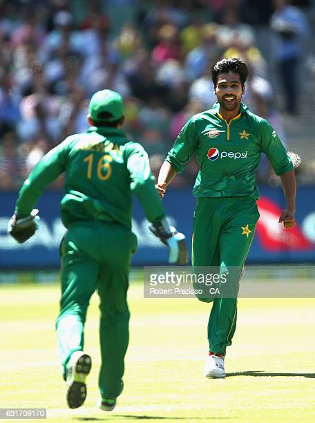 Mohammad Amir of Pakistan celebrates the wicket of Mitchell Marsh of Australia during game two of the One Day International series between Australia...