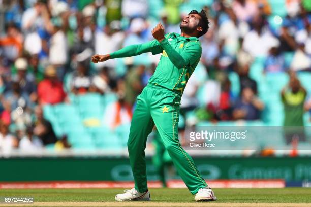 Mohammad Amir of Pakistan celebrates the wicket of Rohit Sharma of India during the ICC Champions trophy cricket match between India and Pakistan at...