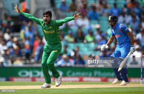 Mohammad Amir of Pakistan successfully appeals for the wicket of Rohit Sharma of India during the ICC Champions Trophy Final between India and...