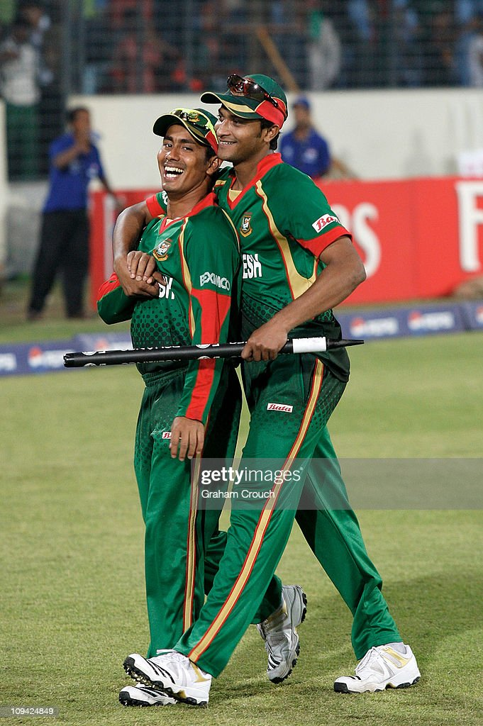 Mohammad Ashraful and Shakib Al Hasan of Bangladesh celebrate their win in the 2011 ICC World Cup Group B match between Bangladesh and Ireland at...