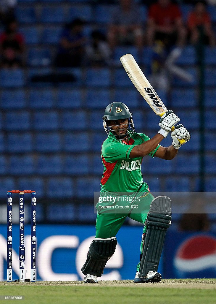 Mohammad Ashraful of Bangladesh bats during the ICC World T20 Group D match between New Zealand and Bangladesh at Pallekele Cricket Stadium on...