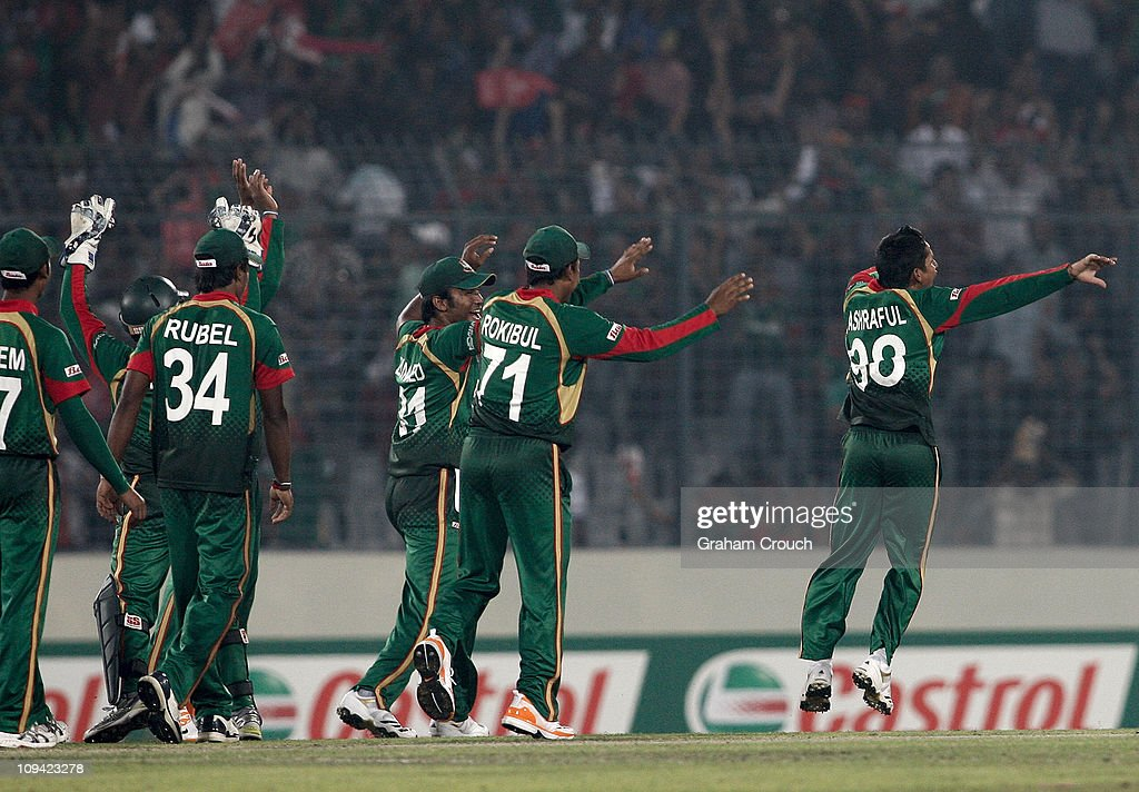 <a gi-track='captionPersonalityLinkClicked' href=/galleries/search?phrase=Mohammad+Ashraful&family=editorial&specificpeople=224689 ng-click='$event.stopPropagation()'>Mohammad Ashraful</a> (r) of Bangladesh celebrates his dismissal of Andrew White of Ireland during the 2011 ICC World Cup Group B match between Bangladesh and Ireland at Shere-e-Bangla National Stadium on February 25, 2011 in Dhaka, Bangladesh.