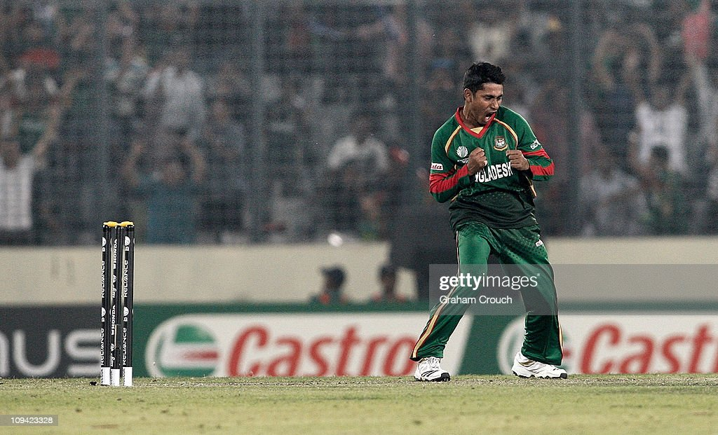 <a gi-track='captionPersonalityLinkClicked' href=/galleries/search?phrase=Mohammad+Ashraful&family=editorial&specificpeople=224689 ng-click='$event.stopPropagation()'>Mohammad Ashraful</a> of Bangladesh celebrates his dismissal of Andrew White of Ireland during the 2011 ICC World Cup Group B match between Bangladesh and Ireland at Shere-e-Bangla National Stadium on February 25, 2011 in Dhaka, Bangladesh.