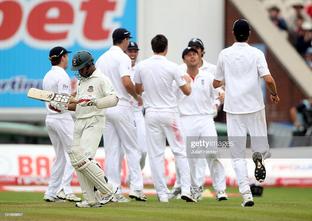Mohammad Ashraful of Bangladesh walks of after his dismissal on day three of the 2nd npower Test between England and Bangladesh at Old Trafford on...