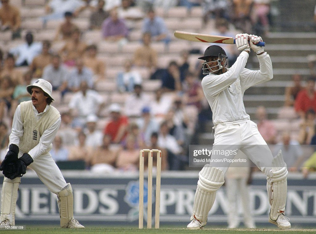 Mohammad Azharuddin batting during his innings of 78 for India on the first day of the 3rd Test match between England and India at the Oval in London, 23rd August 1990. The England wicketkeeper is Jack Russell. The match ended in a draw.