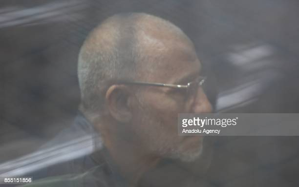 Mohammad Badi Egyptian Brotherhood supreme guide attends the trial session known as breaking up the Rabaa elAdaweya protests case at Cairo Police...