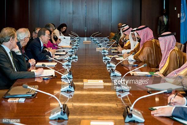 Mohammad bin Salman Al Saud and UN Secretary General Ban Kimoon meet at United Nations headquarters on June 22 in New York City to discuss recent...