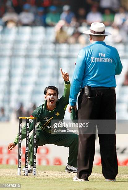 Mohammad Hafeez of Pakistan appeals successfully to umpire Steve Davis for LBW against Darren Bravo of West Indies during the first ICC 2011 World...