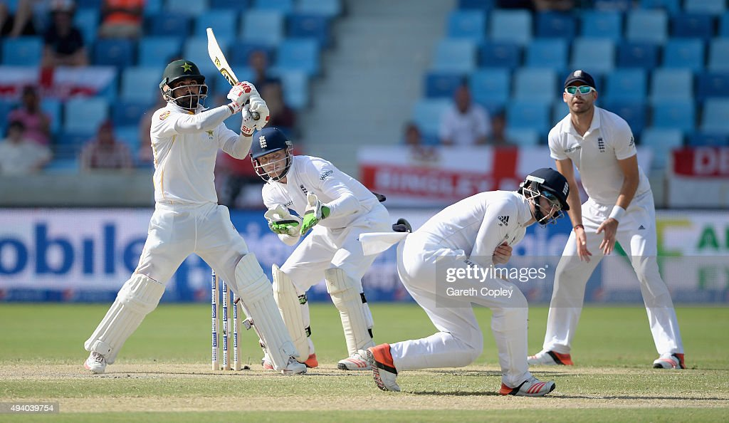 Mohammad Hafeez of Pakistan bats during day three of the 2nd test match between Pakistan and England at Dubai Cricket Stadium on October 24 2015 in...